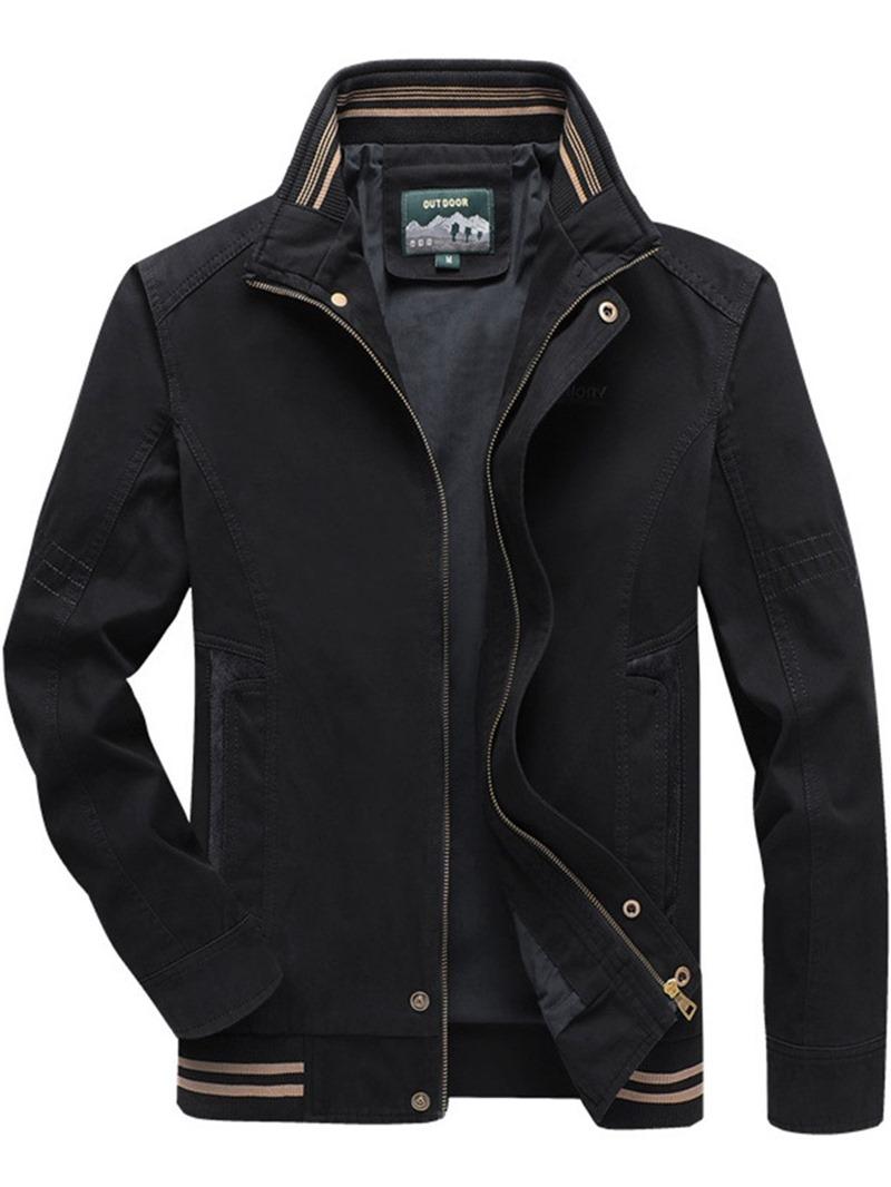 Ericdress Zipper Color Block Men's Stand Collar Jacket