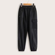 Pantalones zanahoria de niños con bolsillo con solapa de cintura elastica