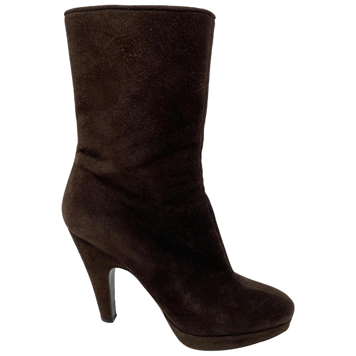 Prada \N Brown Suede Boots for Women 37 EU