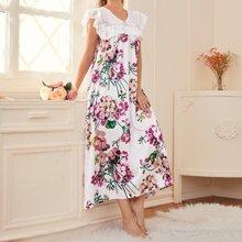 Floral Print Eyelet Embroidery Satin Night Dress