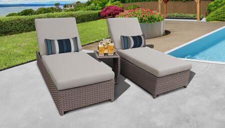 Monterey Collection MONTEREY-W-2x-ST-BEIGE Patio Set with 2 Chaise with Wheels  1 Side Table - 2 Sets of Beige