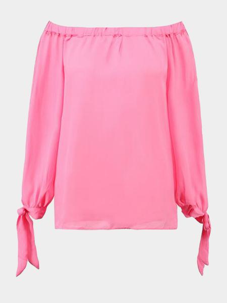 Yoins Pink Off Shoulder Sleeves Side Slit Chiffon Blouse