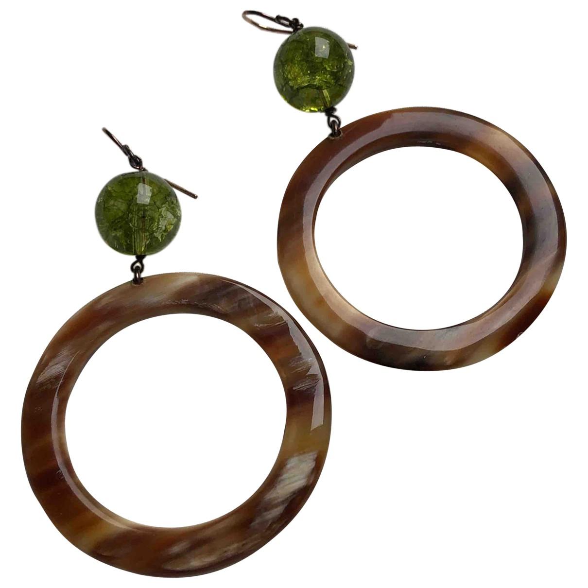 - Boucles doreilles   pour femme en corne - vert