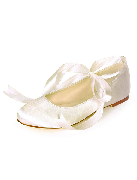Milanoo Satin Wedding Shoes Ivory Pointed Toe Lace Up Bridesmaid Shoes Flat Bridal Shoes