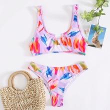 Tank Bikini Badeanzug mit buntem Muster und Ausschnitt