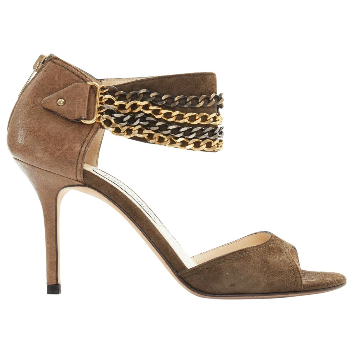 Jimmy Choo \N Green Suede Sandals for Women 37.5 EU