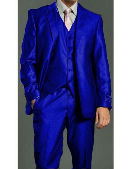Mens Royal ~ Indigo ~ Cobalt New Blue 2 Button Vested Suit