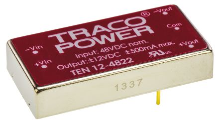 TRACOPOWER TEN 12 12W Isolated DC-DC Converter Through Hole, Voltage in 18 → 75 V dc, Voltage out ±12V dc