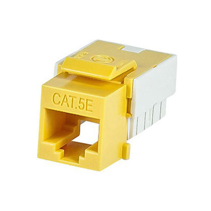 Slim Cat5e Punch Down Keystone Jack - Yellow - Monoprice®