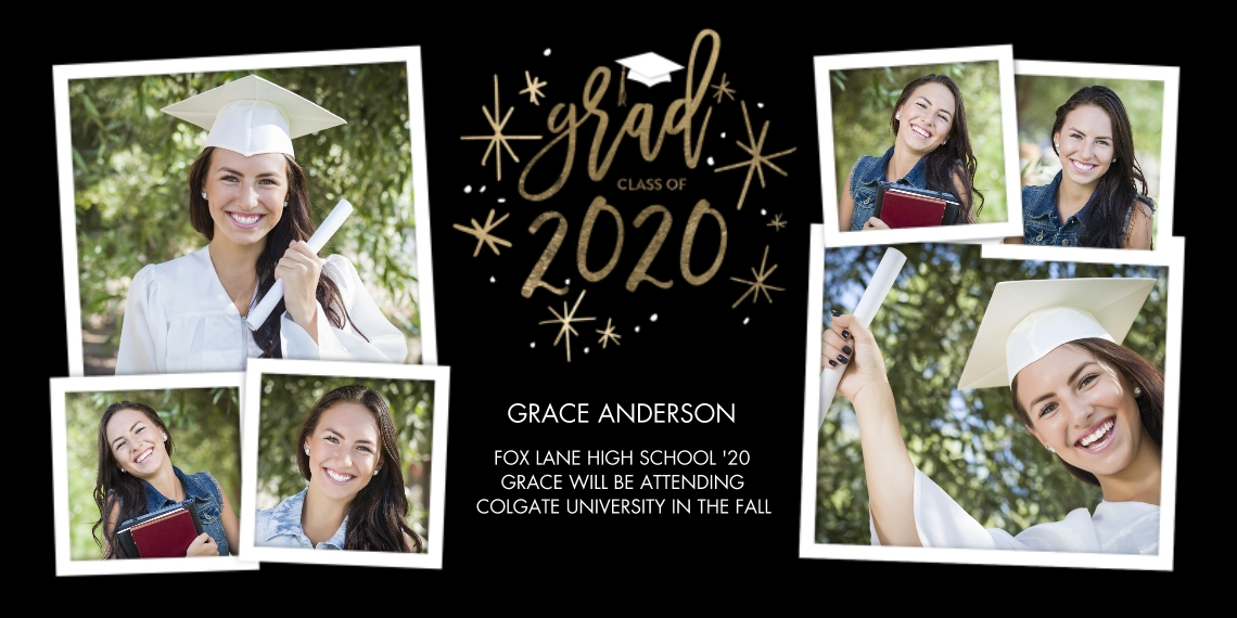 2020 Graduation Announcements Flat Matte Photo Paper Cards with Envelopes, 4x8, Card & Stationery -Grad 2020 Simple by Tumbalina