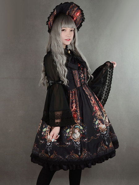 Milanoo Rococo Lolita Dress JSK Lost In Rococo Silk Lace Up Bow Ruffled Printed Lolita Jumper Skirt Original Design
