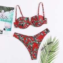 Floral V Wired Underwire Bikini Swimsuit