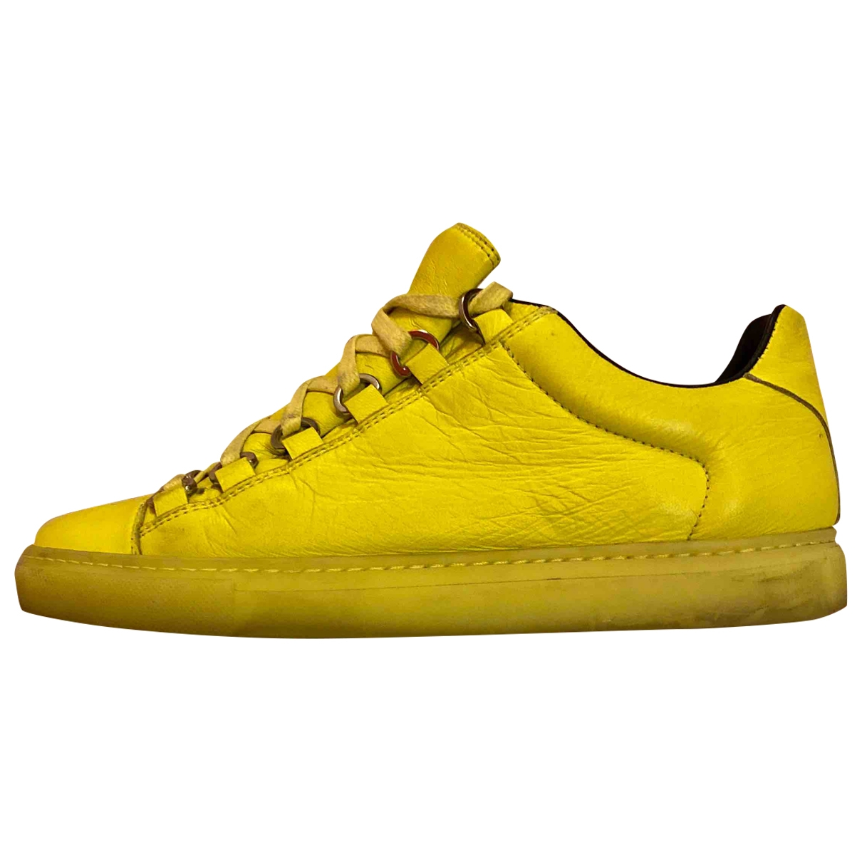 Balenciaga - Baskets Arena pour femme en cuir - jaune