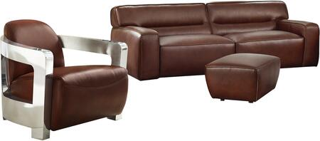 Milan Collection SU-AX6816-SAO Leather 3 Piece Living Room Set  Sofa  Aviator Chair with Chrome Arms  Ottoman in Brown