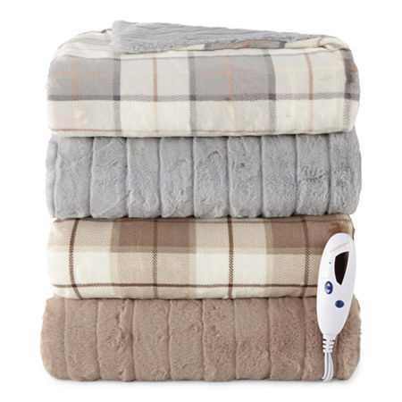 Biddeford Fur Heated Velour Automatic Shut Off Electric Throws, One Size , Gray