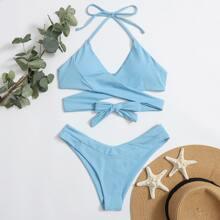 Bikini Badeanzug mit Kreuzgurt, Wickel Design und Neckholder