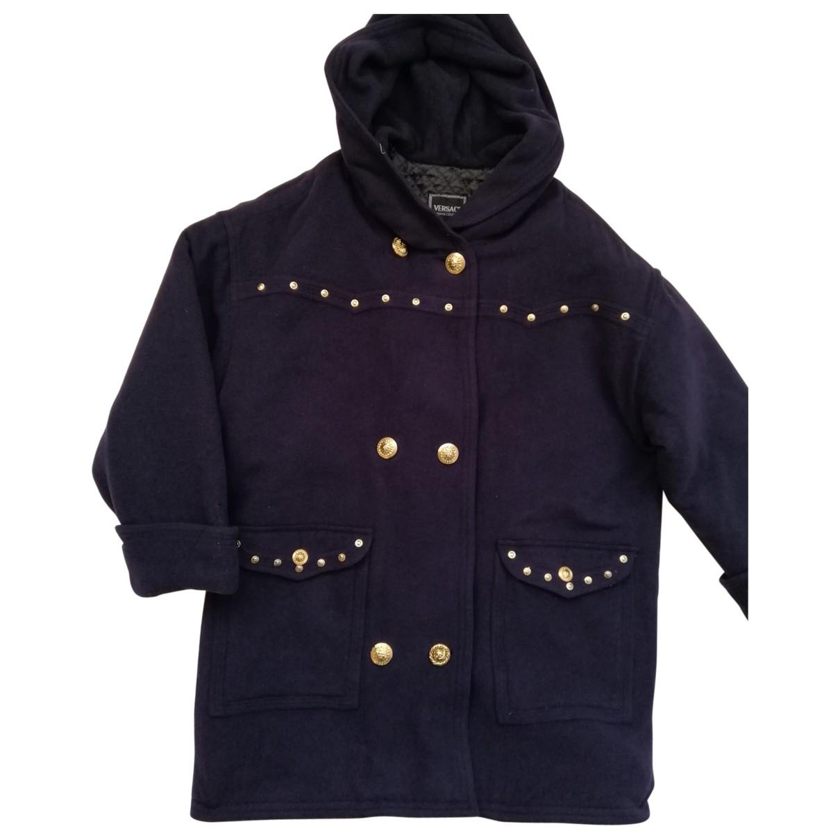 Versace Jean - Manteau   pour femme en laine - bleu