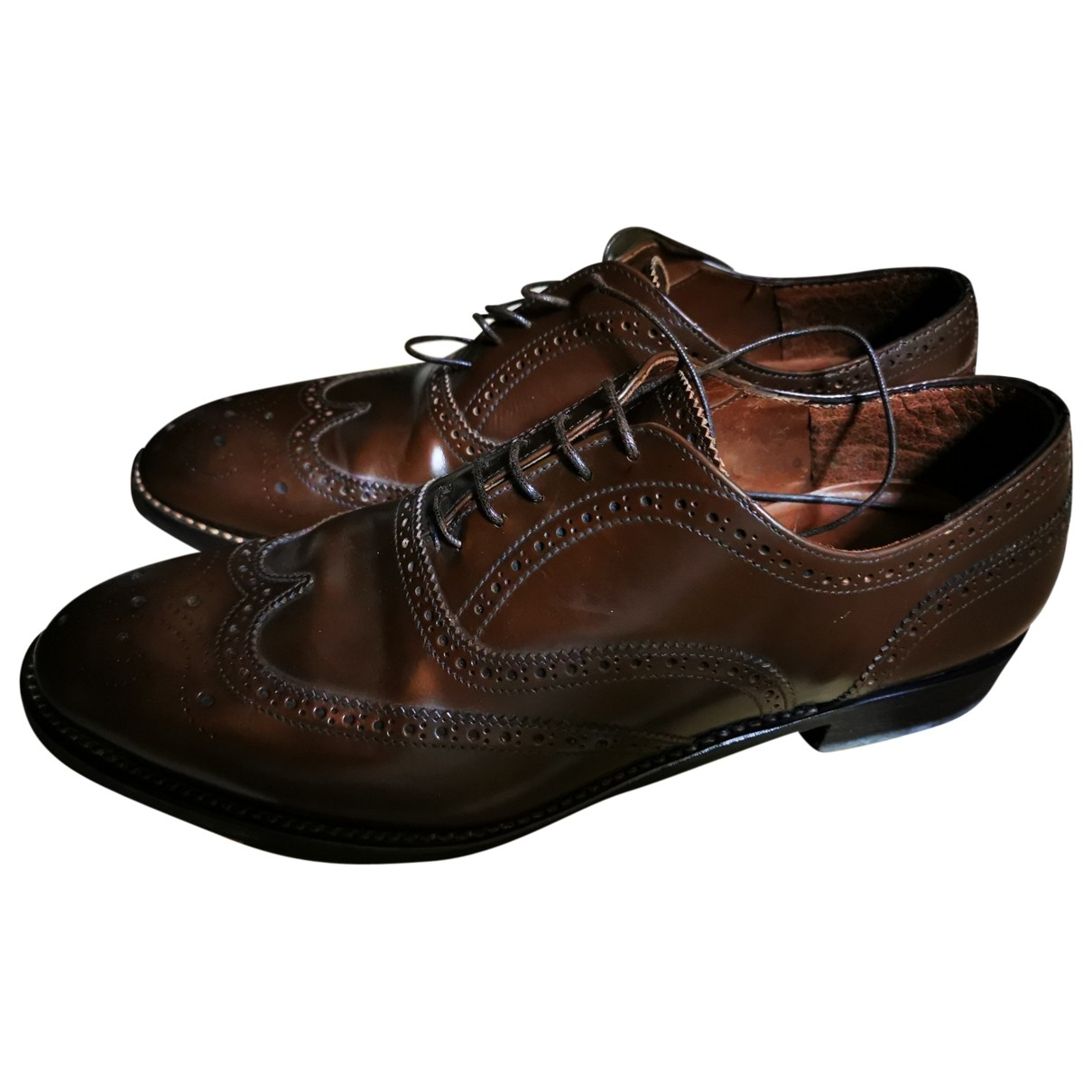 Non Signé / Unsigned \N Brown Leather Lace ups for Women 40 EU