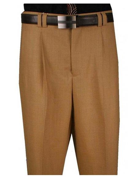 Mens Single Pleat 1 Pure Wool Wide Leg Camel Pant