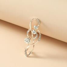Broche con diseño de nota de musica con diamante de imitacion