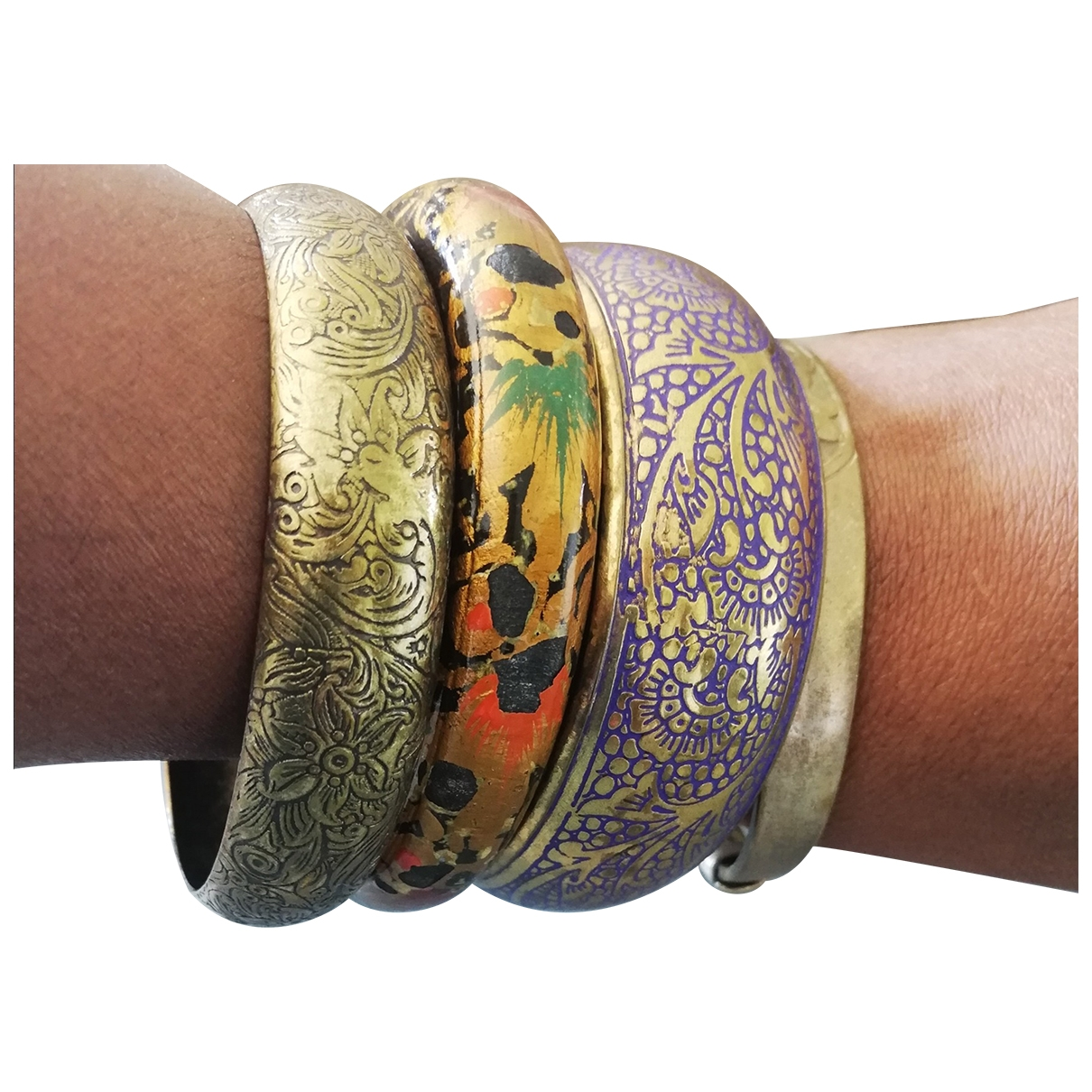 Non Signe / Unsigned Motifs Ethniques Armband in  Bunt Metall
