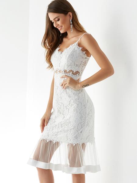 Yoins White Adjustable Shoulder Straps Lace Design Dress