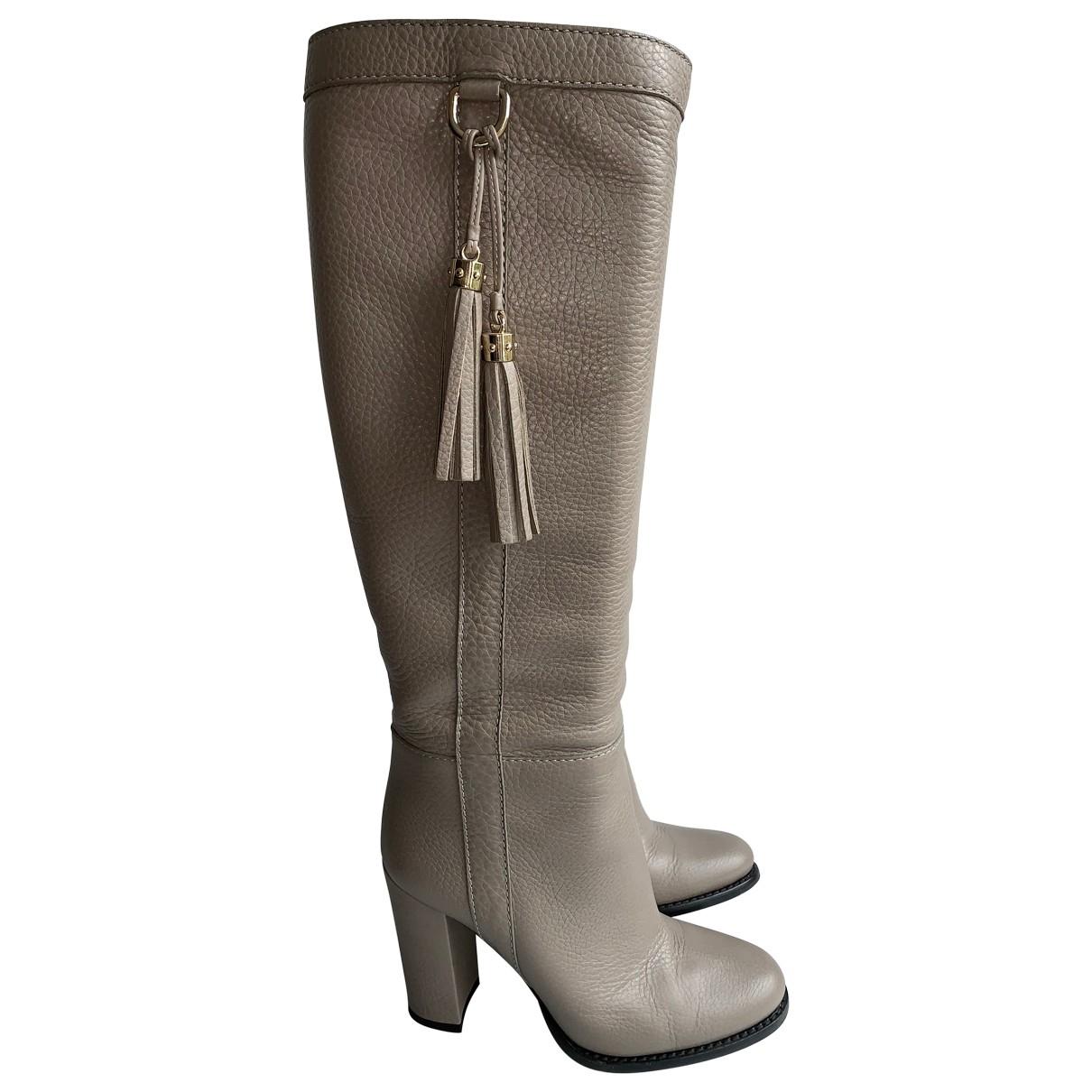 Gucci - Bottes   pour femme en cuir - beige