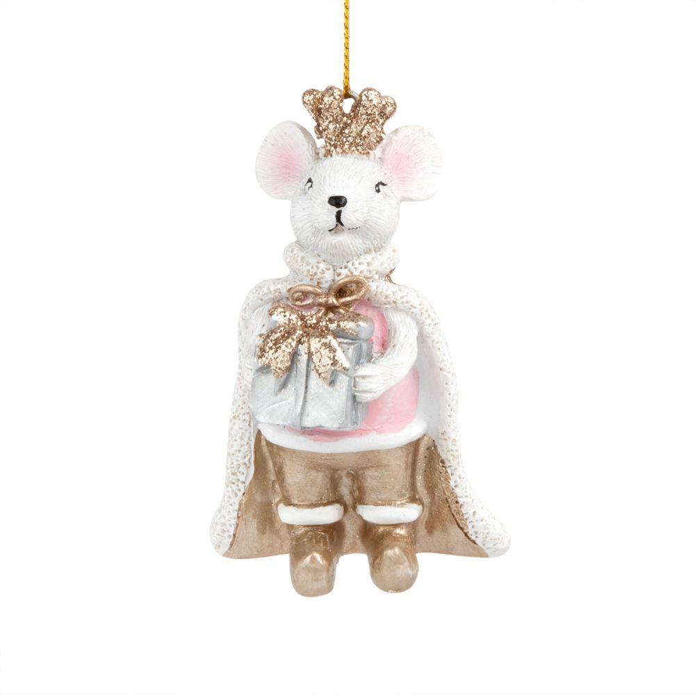 Weihnachtliche Haengedeko, weisse Maus