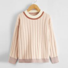 Girls Contrast Trim Drop Shoulder Sweater