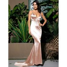 Ruched Backless Satin Mermaid Prom Dress