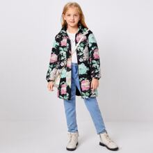 Mantel mit Blumen Muster, Reissverschluss und Kapuze
