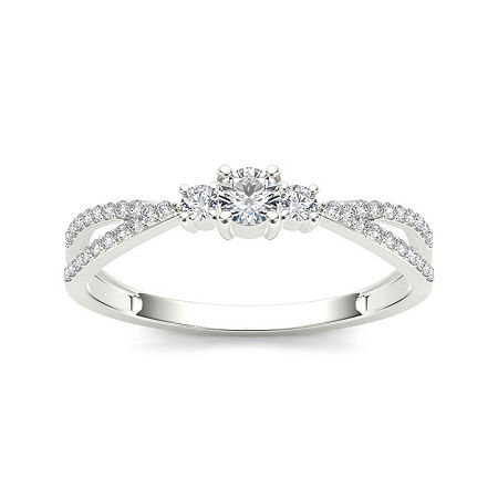 1/4 CT. T.W. Diamond 10K White Gold 3-Stone Engagement Ring, 9 , No Color Family