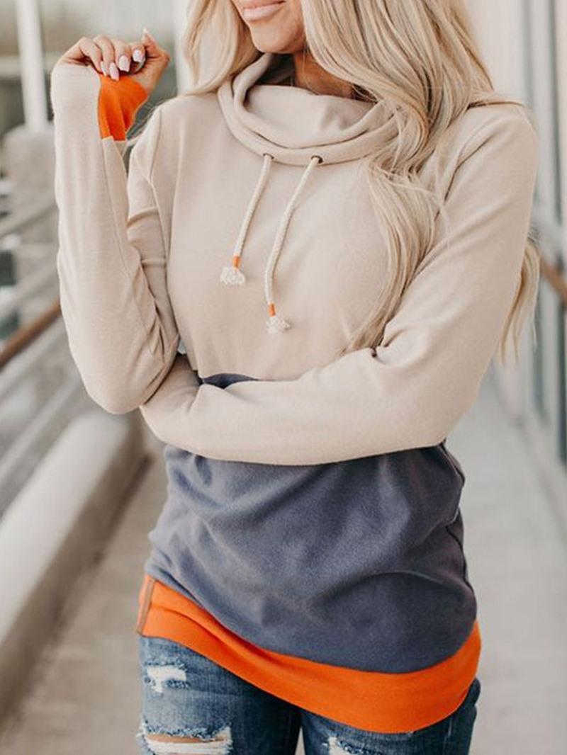 Ericdress Regular Patchwork Color Block Long Sleeve Mid-Length Hoodie