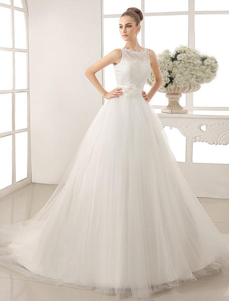 Milanoo Bateau Neck Wedding Dress With Chapel Train