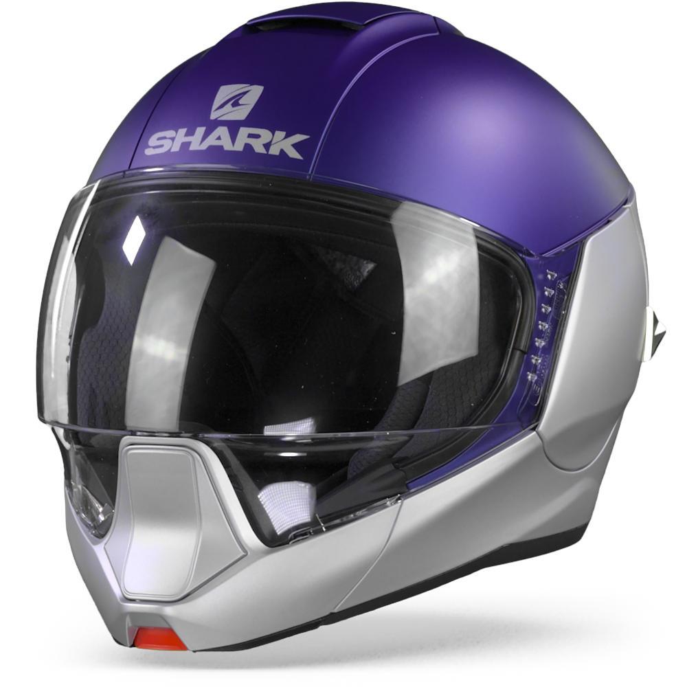Shark Evojet SBS Dual Blank Matt Silver Blue Silver Modular Helmet XL