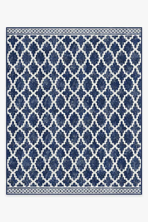 Washable Rug Cover & Pad | Outdoor Cleo Trellis Royal Blue Rug | Stain-Resistant | Ruggable | 8'x10'