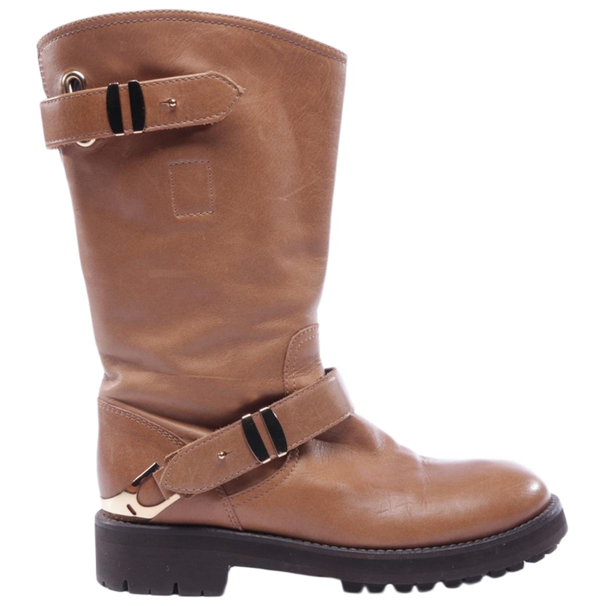 Dondup - Bottes   pour femme en cuir - beige
