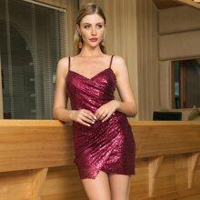 Double Crazy vestido ajustado slip con lentejuelas con diseño cruzado