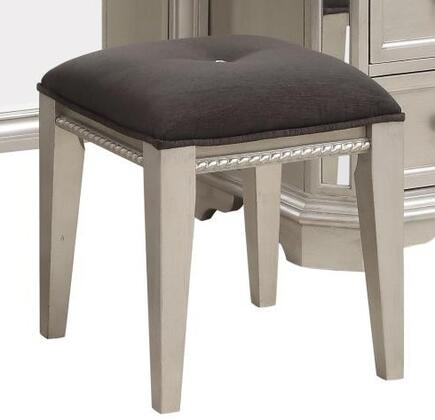 Kendall Collection KE165-S 17 Vanity Stool with Fabric Upholstery  Crystal Tufting  Entwining Rope Details  Tapered Legs  Solid Hardwood and Wood