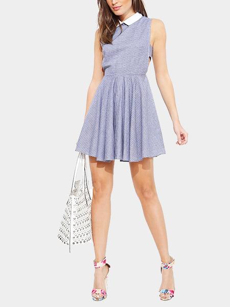 Yoins Pinstrips Collar Dress