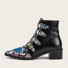 Point Toe Snakeskin Print Boots