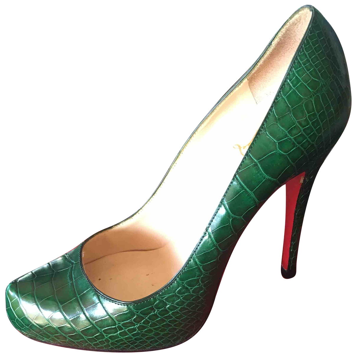 Christian Louboutin Simple pump Green Crocodile Heels for Women 38.5 EU
