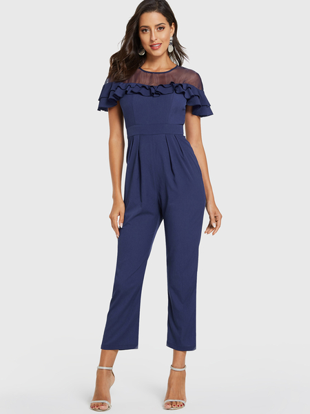 Yoins Royal Ruffle Sleeves Patch Mesh Jumpsuit