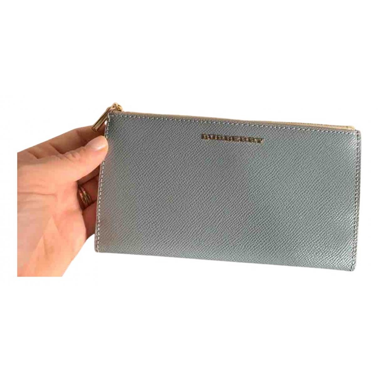 Burberry - Portefeuille   pour femme en cuir - turquoise