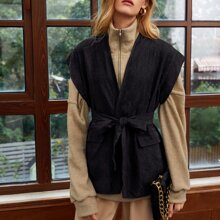 Flap Front Belted Vest Without Sweatshirt