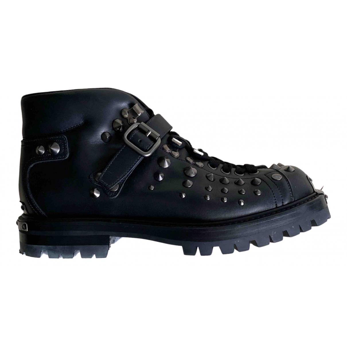 Prada N Black Leather Boots for Men 40.5 EU