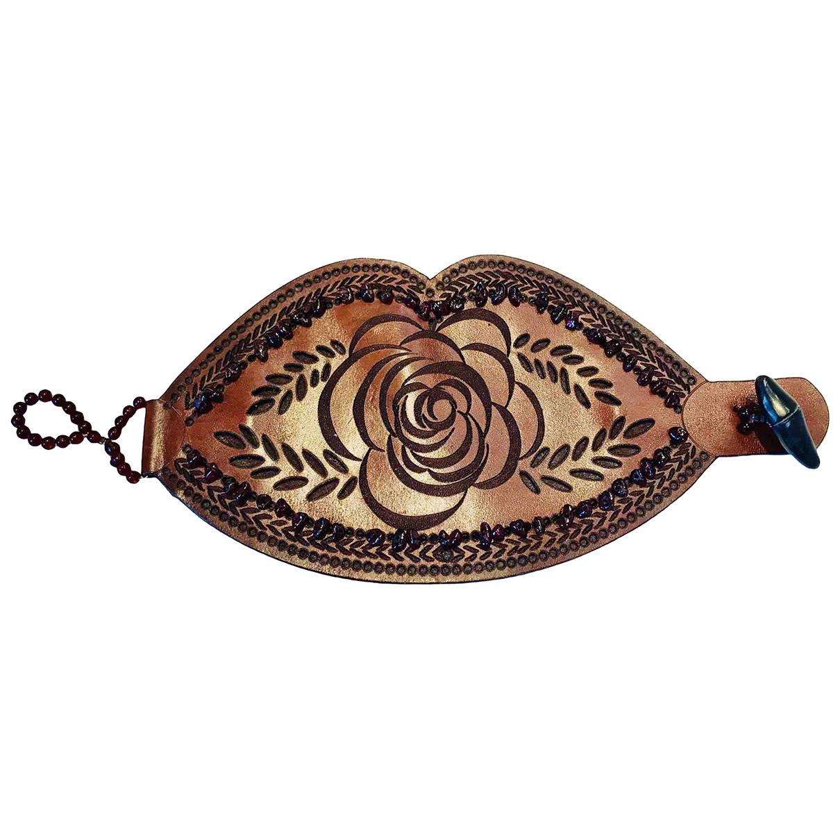 Armani Collezioni - Bracelet   pour femme en cuir - marron