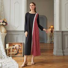 Plaid Spliced Lace Trim Tunic Dress