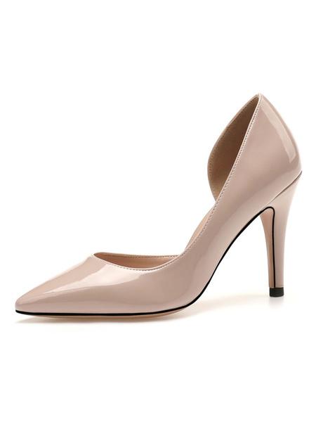 Milanoo Woman\'s High Heels Slip-On Pointed Toe Stiletto Heel Simple Low-Tops Black