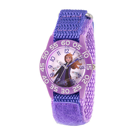 Disney Anna Girls Purple Strap Watch-Wds000779, One Size , No Color Family